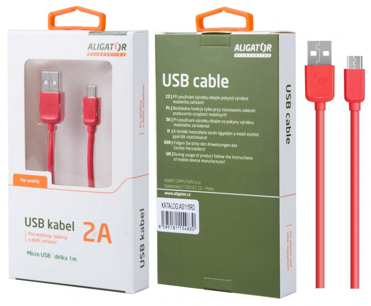 Datový kabel ALIGATOR AS115, Micro USB, red