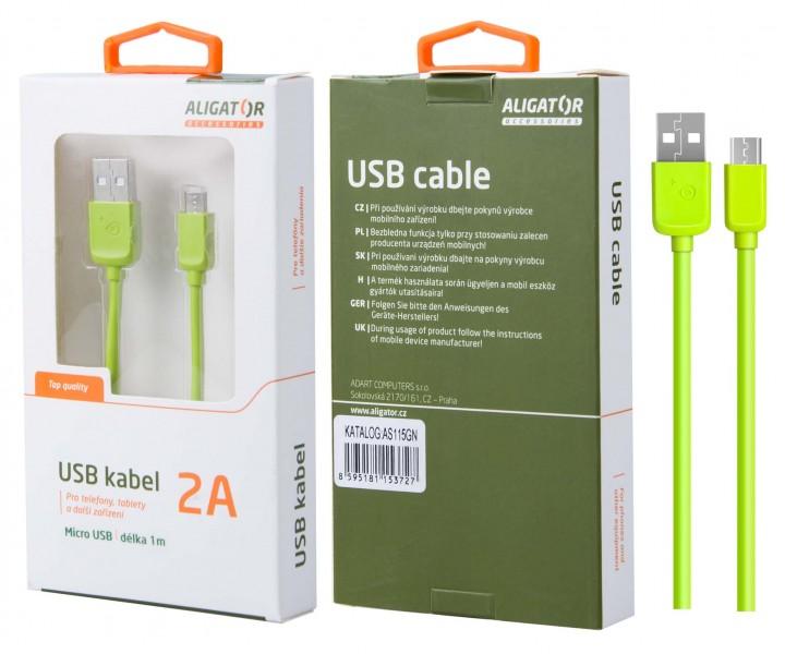 Datový kabel ALIGATOR AS115, Micro USB, green