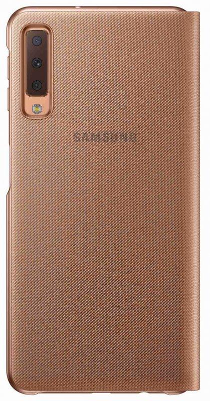 Flipové pouzdro Samsung Wallet Case pro Galaxy A7 2018 (A750) zlatá