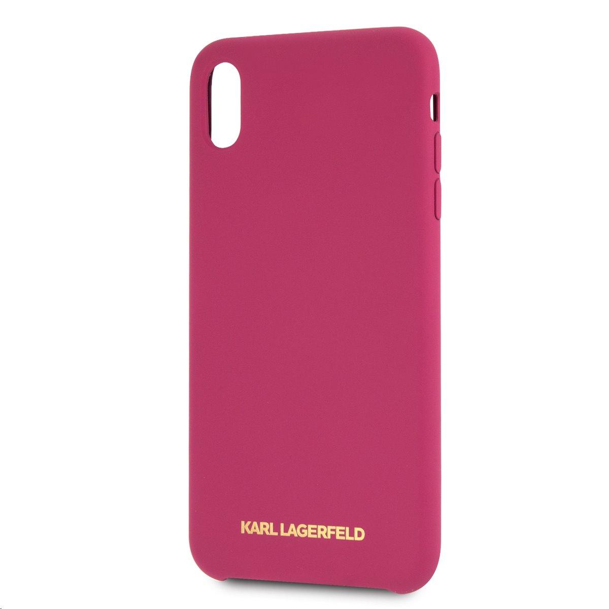 Silikonové pouzdro Karl Lagerfeld Gold Logo Silicone Case na iPhone XS Max,Fushia
