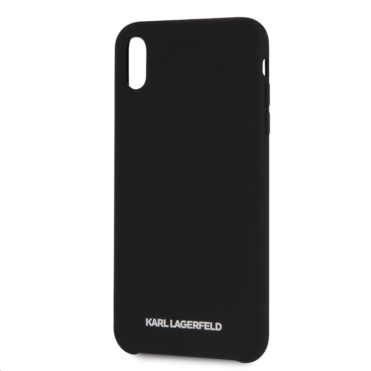 Silikonové pouzdro Karl Lagerfeld Silver Logo Silicone Case na iPhone XS Max,black