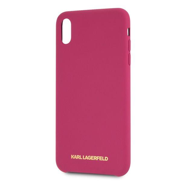 Silikonové pouzdro Karl Lagerfeld Gold Logo Silicone Case na iPhone X/XS,fushia