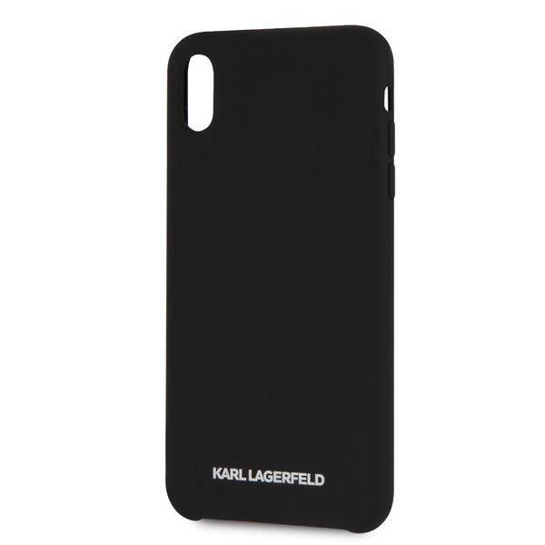 Silikonové pouzdro Karl Lagerfeld Silver Logo Silicone Case na iPhone X/XS,black