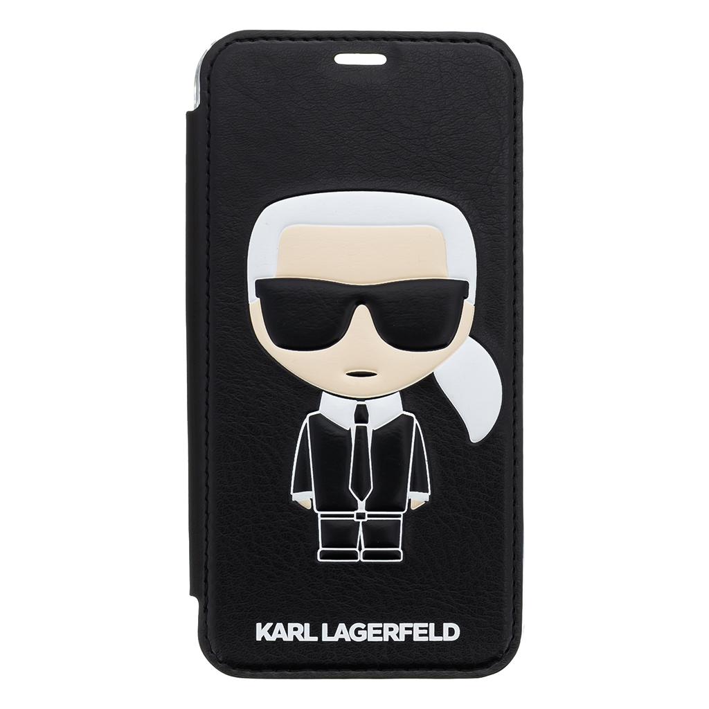 Pouzdro book Karl Lagerfeld Ikonik Case na iPhone X, Black