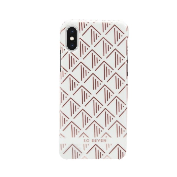 Zadní kryt SoSeven Fashion Paris Triangle Cover pro Apple iPhone X/XS, White/Rose
