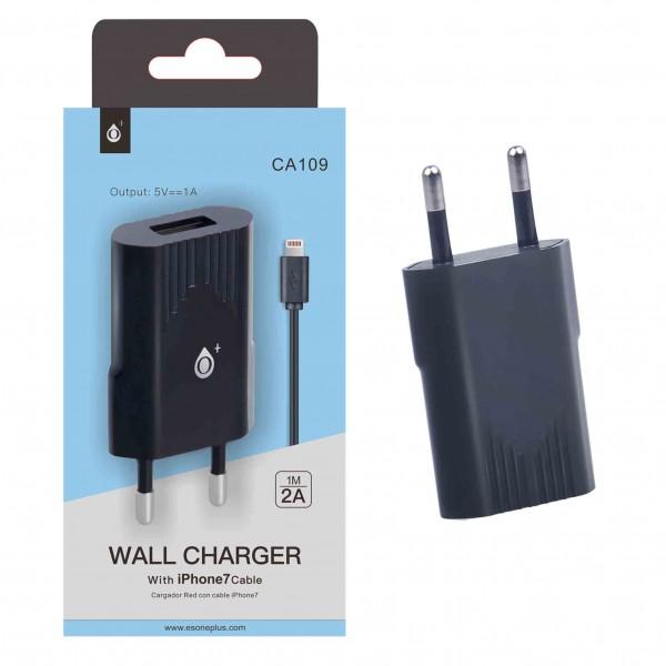 Nabíječka PLUS CA109, kabel pro iPhone7 s USB výstupem 5V/1A, Black