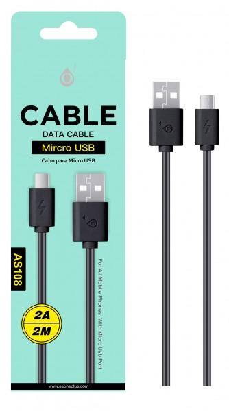 Datový a nabíjecí kabel PLUS AS108, Micro USB 2A/2M, Black