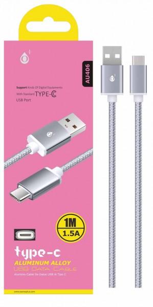 Datový a nabíjecí kabel PLUS AU406, USB-C, Silver