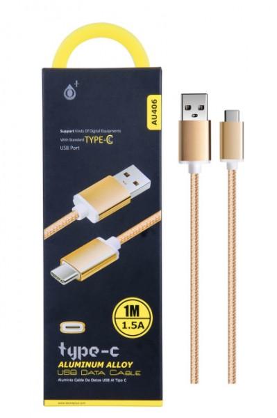 Datový a nabíjecí kabel PLUS AU406, USB-C, Gold