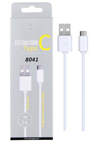 Datový a nabíjecí kabel PLUS 8041, USB-C, délka 1m, 2A, USB 2.0, White