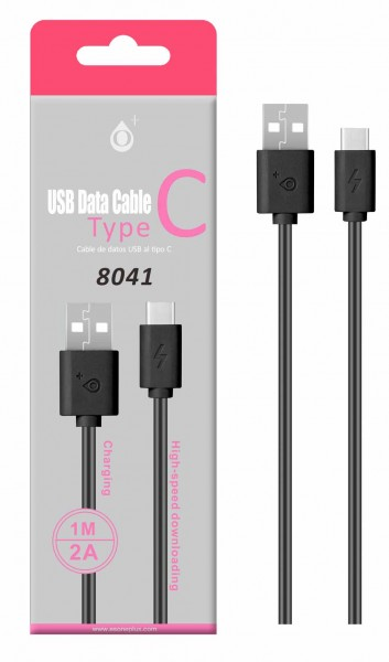 Datový a nabíjecí kabel PLUS 8041, USB-C, délka 1m, 2A, USB 2.0, Black