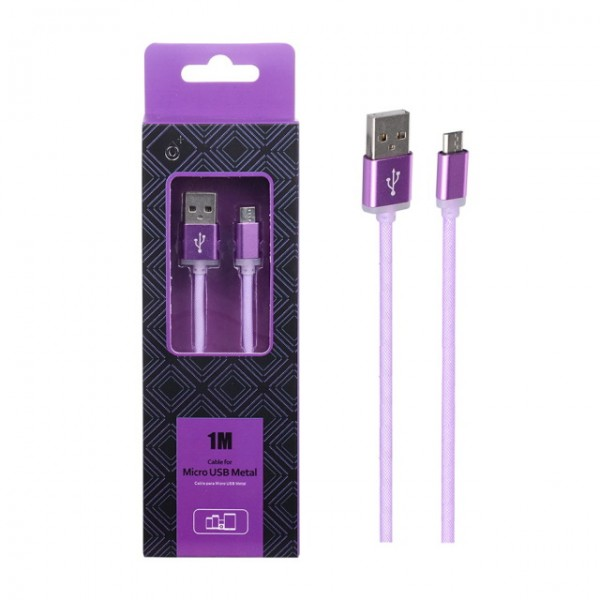 Datový a nabíjecí kabel PLUS AS110 METAL MicroUSB, 1M, Purple