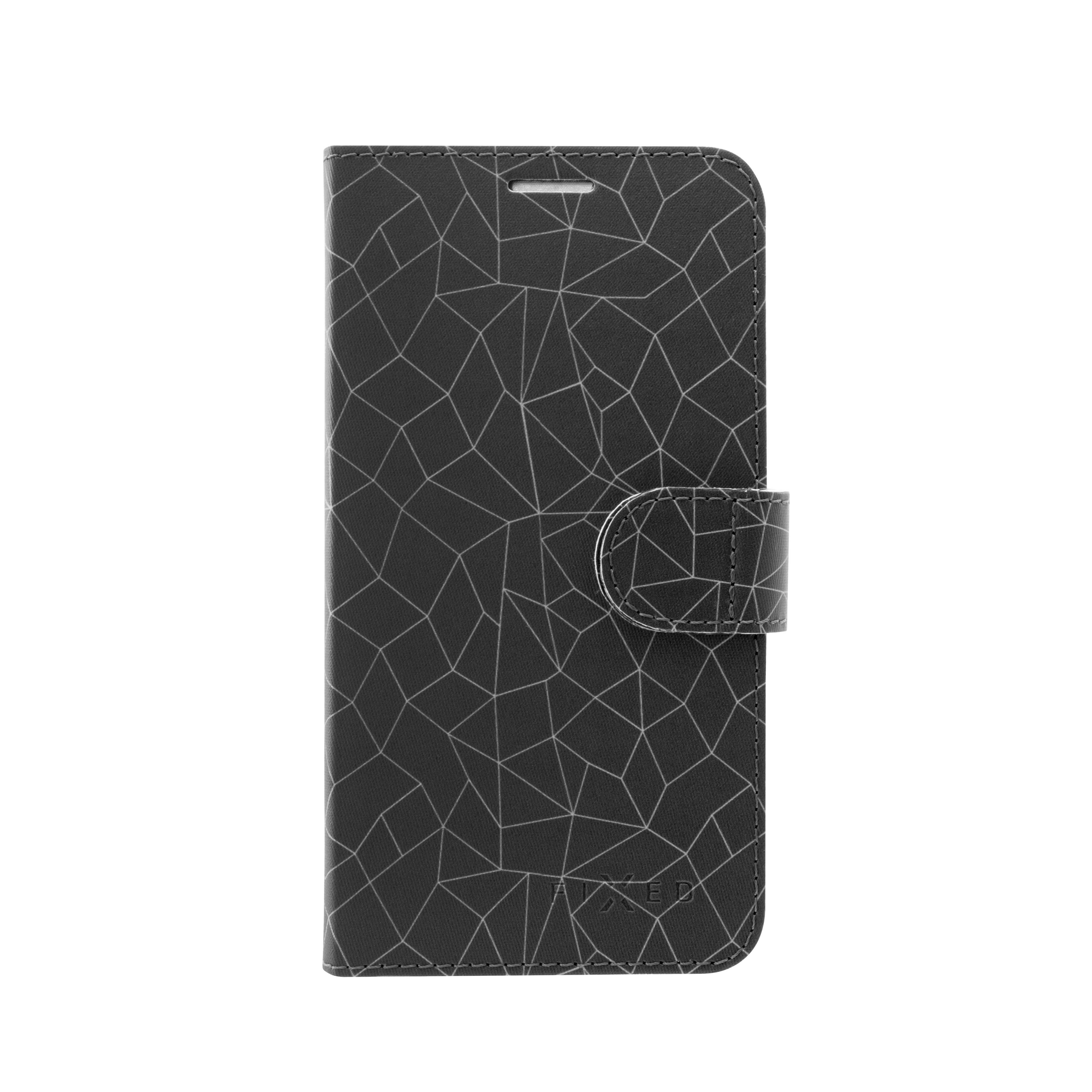 Pouzdro typu kniha FIXED FIT pro Samsung Galaxy J4+, motiv grey mesh