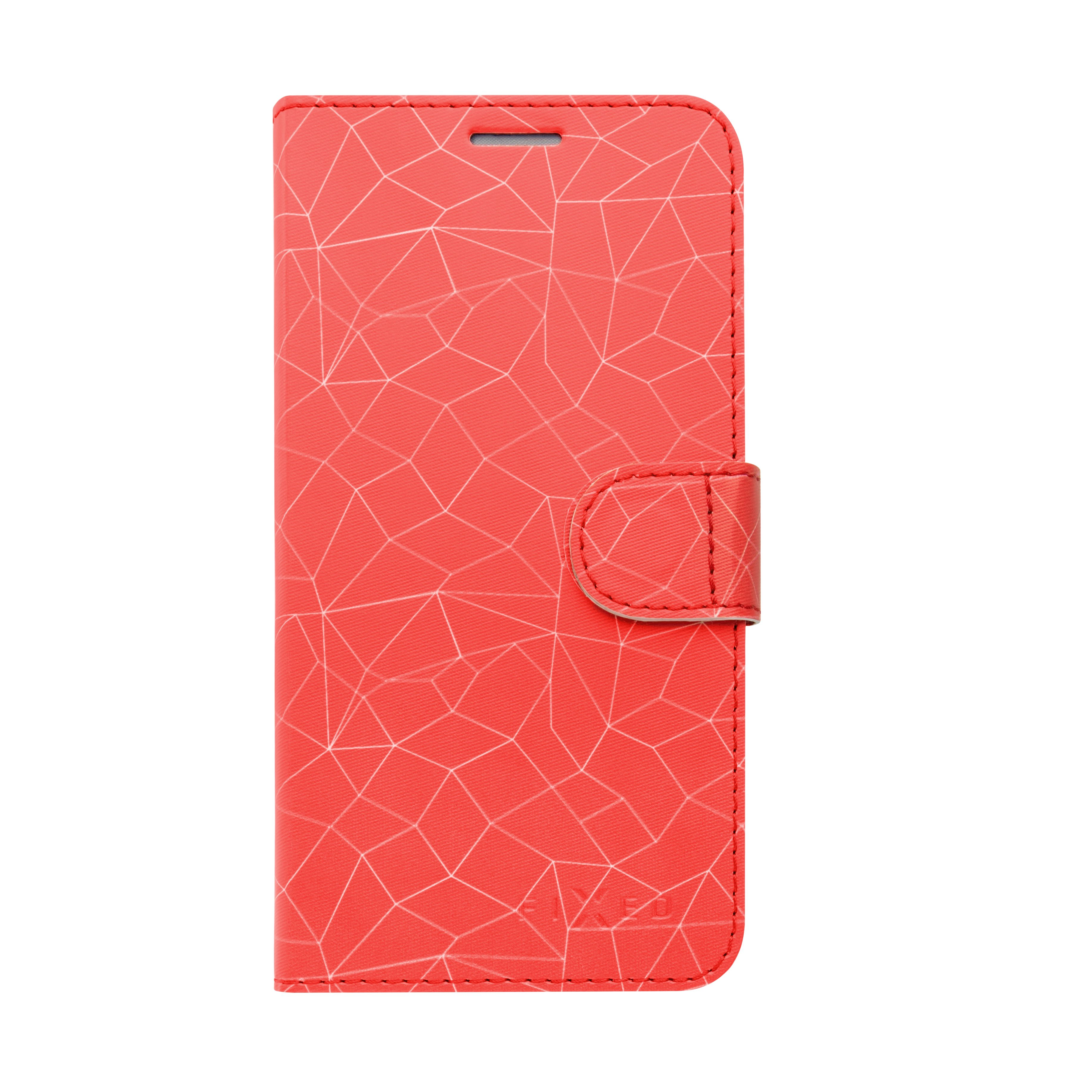 FIXED FIT flipové pouzdro pro Apple iPhone 5/5S/SE, motiv red mesh