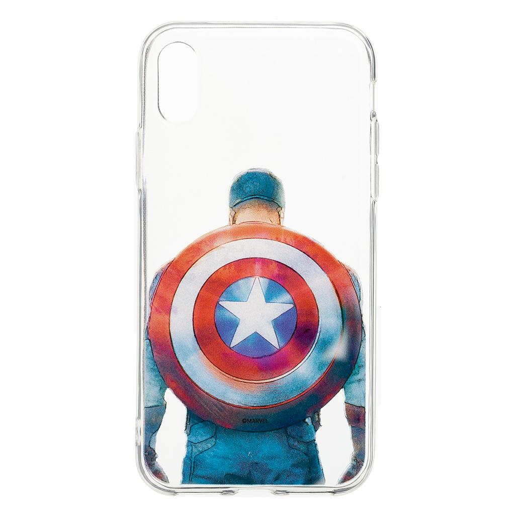 Zadní kryt Marvel Captain America 002 pro Apple iPhone XS, transparent