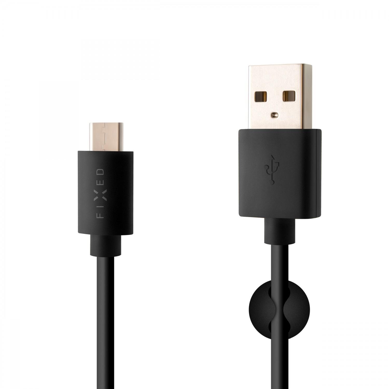 Dlouhý datový a nabíjecí kabel FIXED s konektorem USB-C, USB 2.0, 2 m, 3A, Black