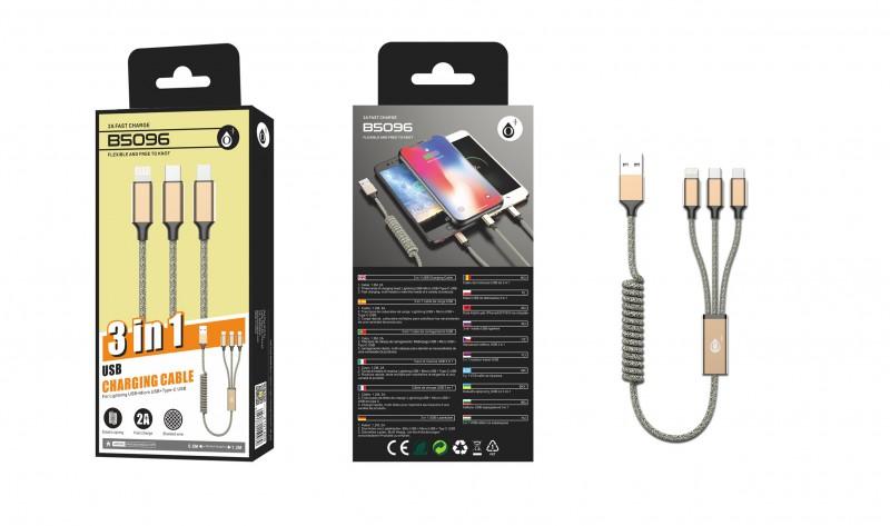 Nabíjecí kabel PLUS B5096 ,3v1, Micro,Type-C,iPh, spirála, 2A, Gold