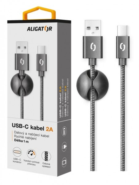 Datový kabel ALIGATOR PREMIUM 2A, USB-C, Black