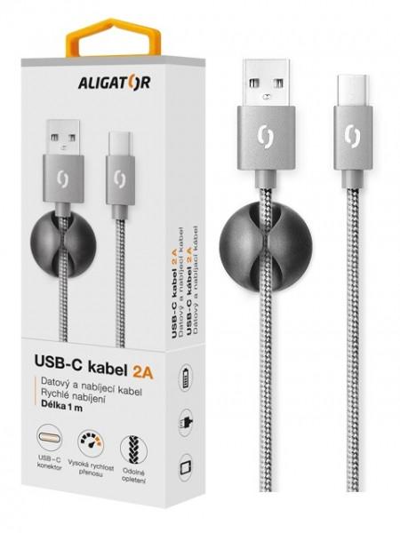 Datový kabel ALIGATOR PREMIUM 2A, USB-C, Grey