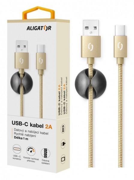 Datový kabel ALIGATOR PREMIUM 2A, USB-C, Gold