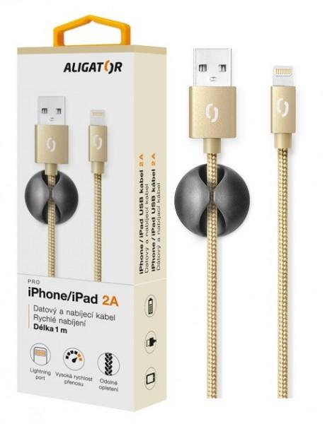 Datový kabel ALIGATOR PREMIUM 2A, Lightning, Gold
