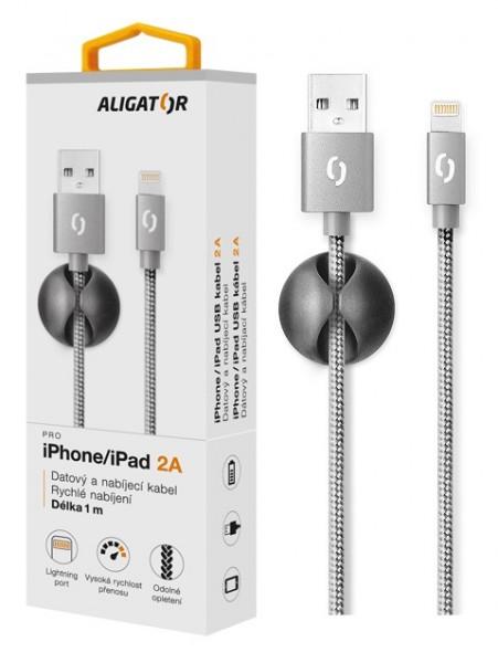 Datový kabel ALIGATOR PREMIUM 2A, Lightning, Grey