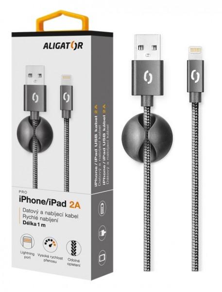 Datový kabel ALIGATOR PREMIUM 2A, Lightning, Black