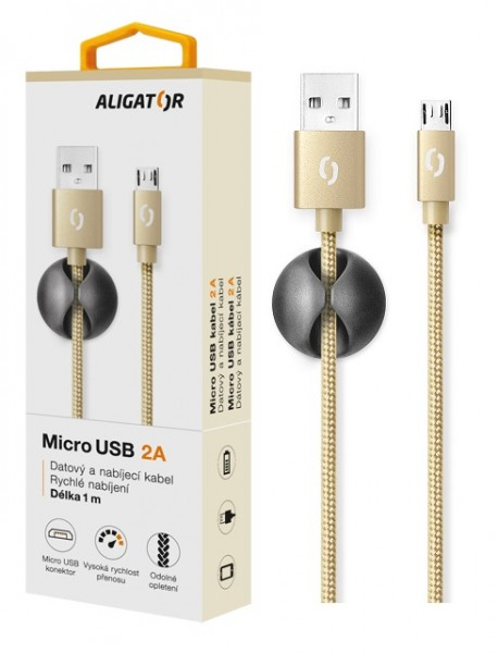 Datový kabel ALIGATOR PREMIUM 2A, MicroUSB, Gold