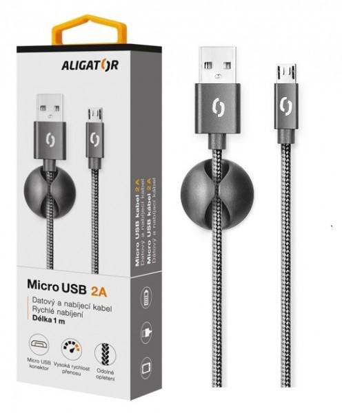 Datový kabel ALIGATOR PREMIUM 2A, MicroUSB, Black