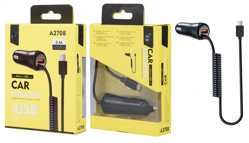 Nabíječka do auta PLUS A2708 s MicroUSB kabelem a 1x USB výstupem 2,4A, Black