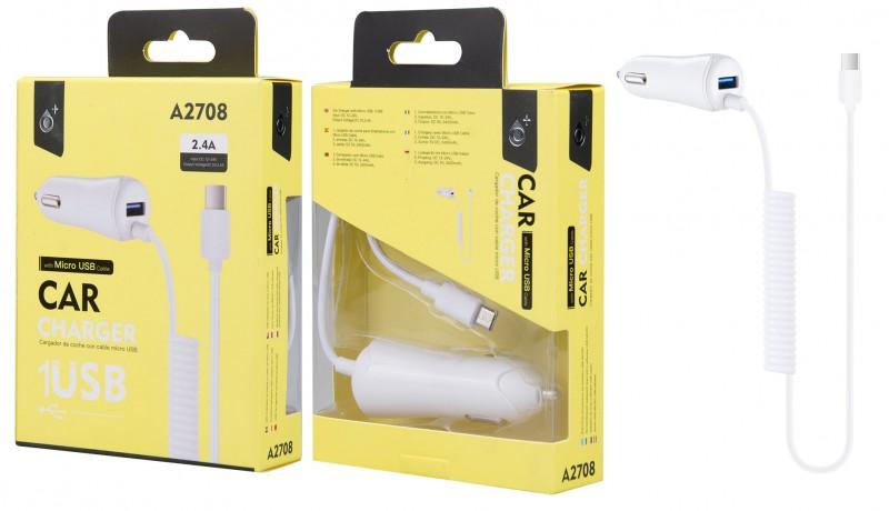 Nabíječka do auta PLUS A2708 s MicroUSB kabelem a 1x USB výstupem 2,4A, White