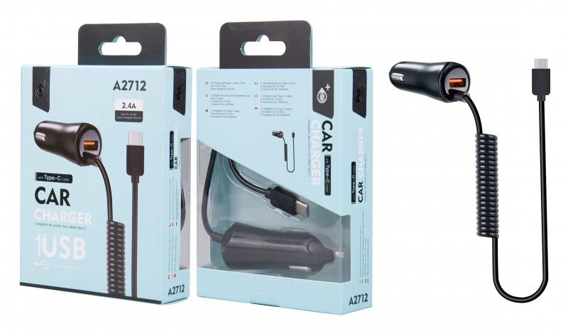 Nabíječka do auta PLUS A2712 , 1xUSB 2,4A a pevným datovým kabelem USB-C