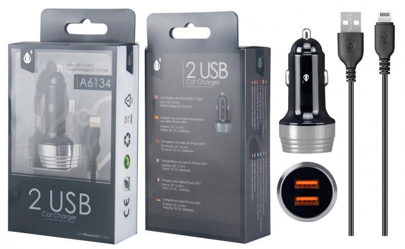 Nabíječka do auta PLUS A6134 s kabelem pro iPhone lightning, 2xUSB výstup 2.4A, Silver
