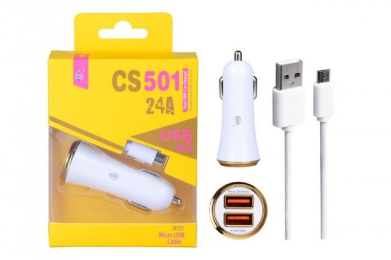 Nabíječka do auta PLUS s microUSB kabelem, 2x USB výstup, (CS501), Gold