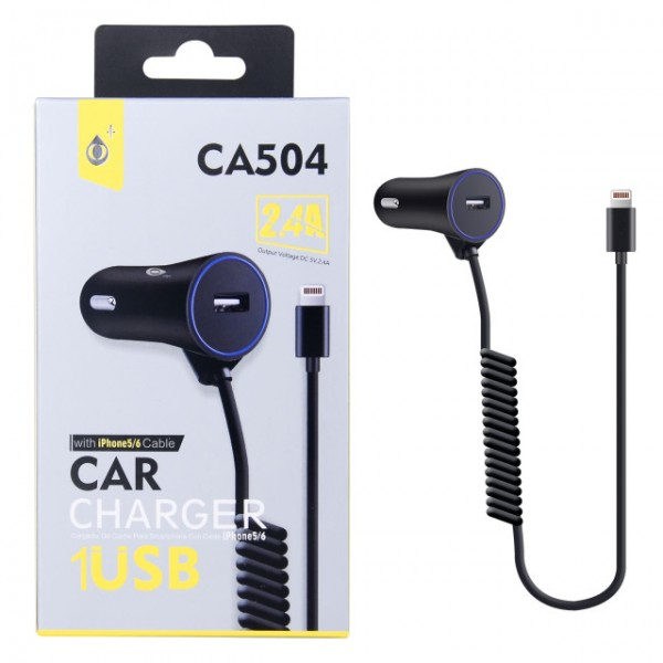 Nabíječka do auta PLUS CA504 s kabelem pro iPhone lightning, výstup 2.4A, Black