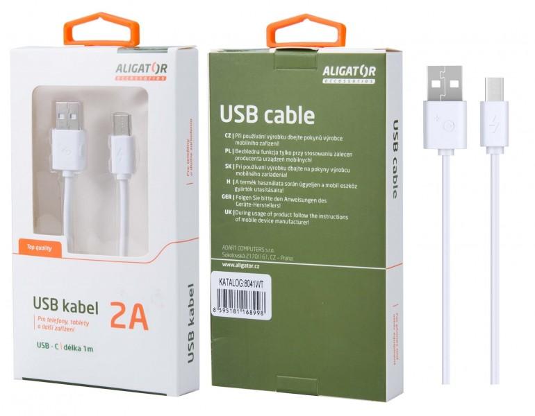 Datový kabel , USB-C, 2A, 1m, prodloužený konektor 9mm, White