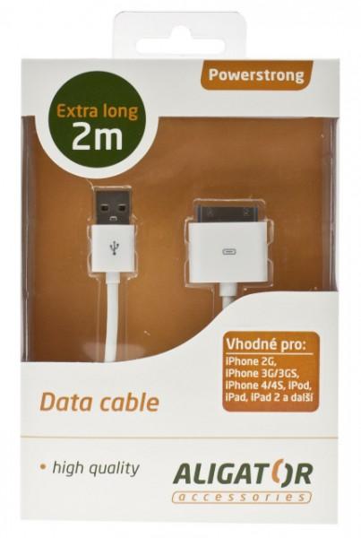 Datový kabel USB Powerstrong iPhone/iPod/iPad, extra dlouhý - 2m, White