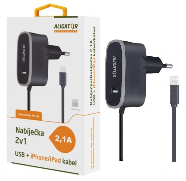 Nabíječka ALIGATOR pro iPhone s USB výst 5V/2,1A, Black