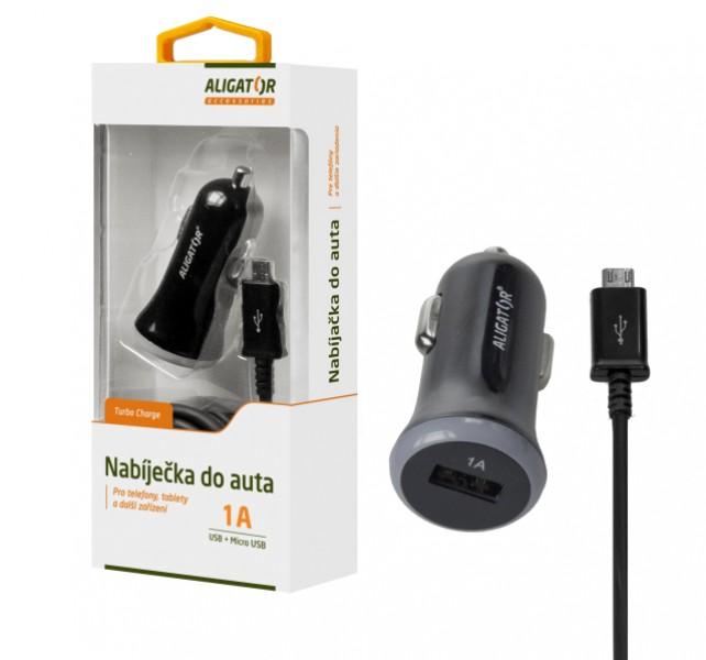 Nabíječka do auta ALIGATOR s microUSB kabelem a USB výstupem, 1A, Black