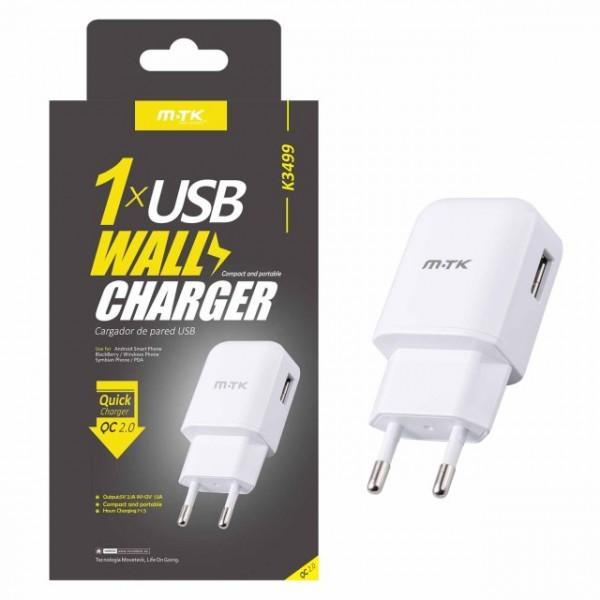 Nabíječka Quick Charge 2.0 PLUS s USB výstupem, 2.1A (K3499), White