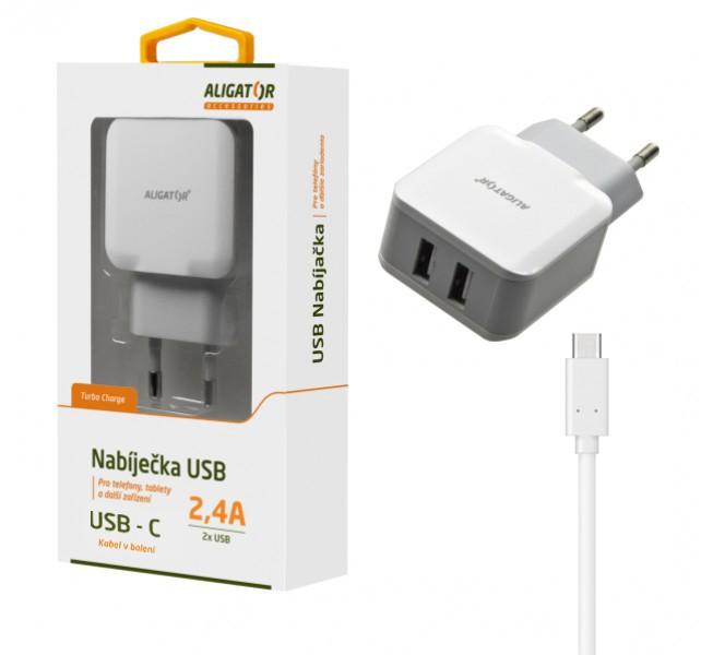 Nabíječka ALIGATOR USB-C s 2xUSB výstupem 2,4A, Turbo charge, White