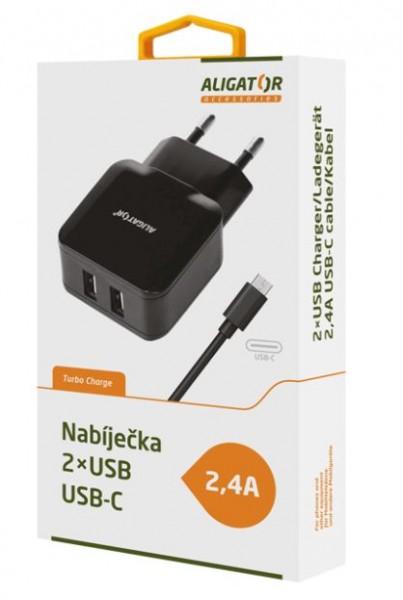 Nabíječka ALIGATOR USB-C s 2xUSB výstupem 2,4A, Turbo charge, Black