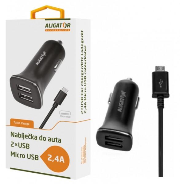 Nabíječka do auta ALIGATOR s microUSB kabelem a 2xUSB výstupem 2,4A, Turbo charge, Black