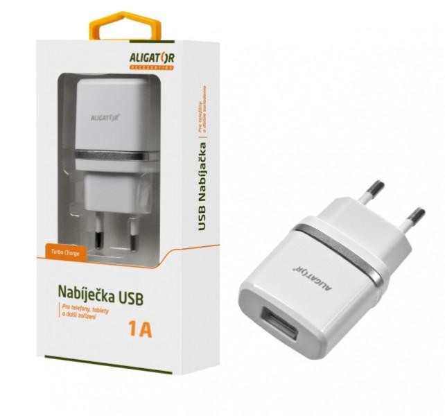 Nabíječka ALIGATOR s USB výstupem 1A, Turbo charge, Black