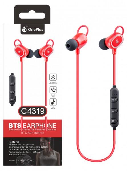 Bluetooth HF sluchátka do uší PLUS, s mikrofonem a tlačítkem C4319 sport, Red