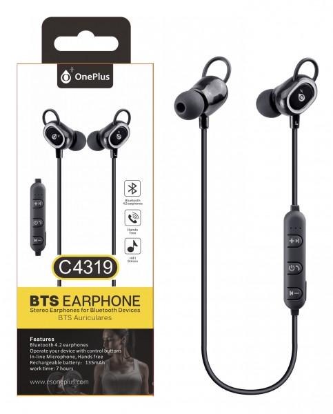 Bluetooth HF sluchátka do uší PLUS, s mikrofonem a tlačítkem C4319 sport, Black