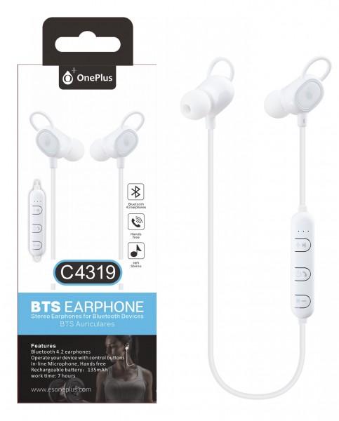 Bluetooth HF sluchátka do uší PLUS, s mikrofonem a tlačítkem C4319 sport, White