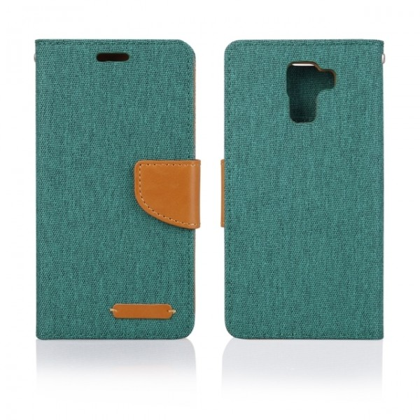 Pouzdro BOOK FANCY PRO Samsung Galaxy Grand Prime, green canvas
