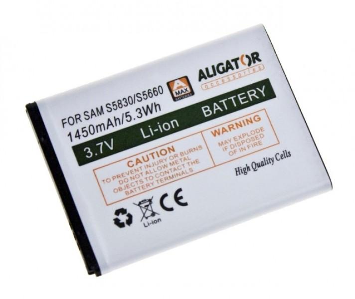 Baterie ALIGATOR pro Samsung Galaxy Ace, Li-ION 1450 mAh, nahrazuje EB494358VU