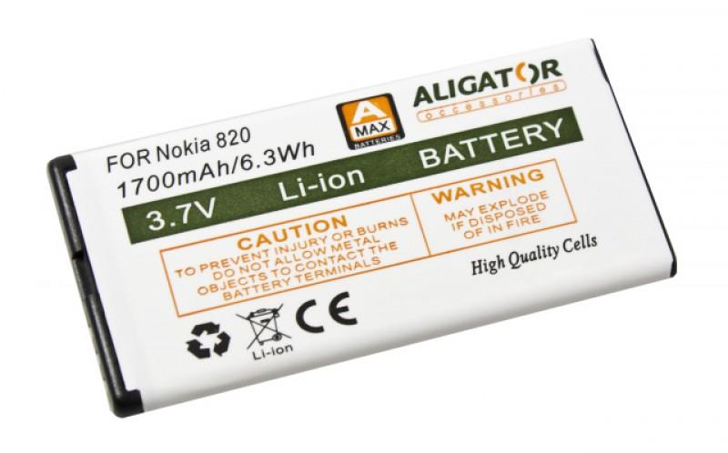 Baterie Aligator pro Nokia Lumia 820, Li-ION 1700 mAh, nahrazuje BP-5T